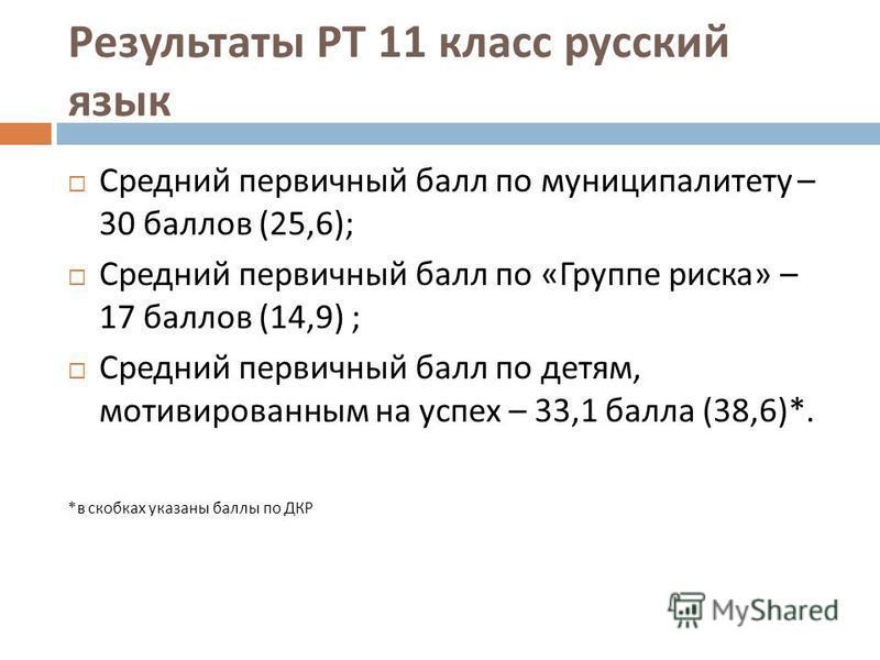 Результаты РТ 11 класс русский язык Средний первичный балл по муниципалитету – 30 баллов (25,6); Средний первичный балл по « Группе риска » – 17 баллов (14,9) ; Средний первичный балл по детям, мотивированным на успех – 33,1 балла (38,6)*. * в скобка