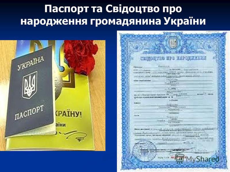 Паспорт та Свідоцтво про народження громадянина України