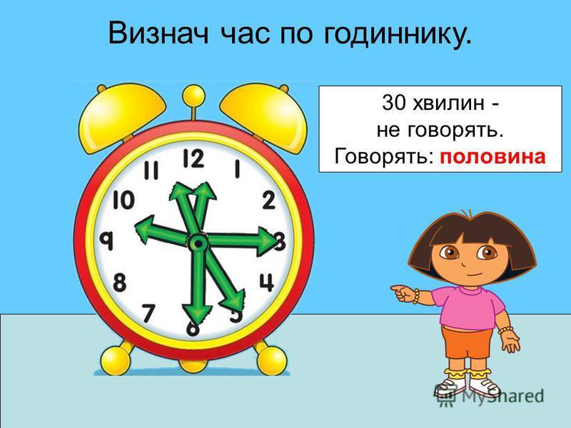 Визнач час по годиннику. 30 хвилин - не говорять. Говорять: половина