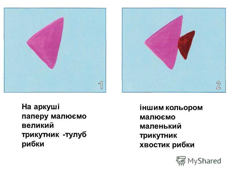 На аркуші паперу малюємо великий трикутник -тулуб рибки іншим кольором малюємо маленький трикутник хвостик рибки