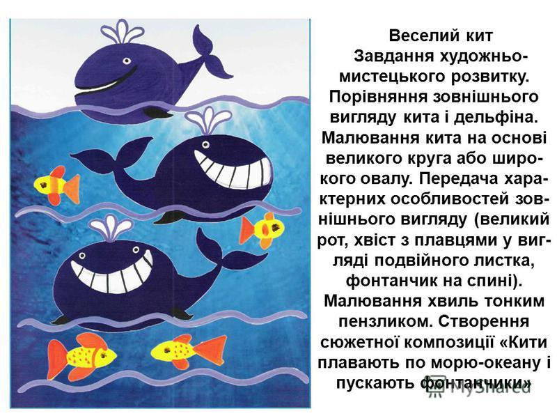 Веселий кит Завдання художньо- мистецького розвитку. Порівняння зовнішнього вигляду кита і дельфіна. Малювання кита на основі великого круга або широ- кого овалу. Передача хара- ктерних особливостей зов- нішнього вигляду (великий рот, хвіст з плавцям