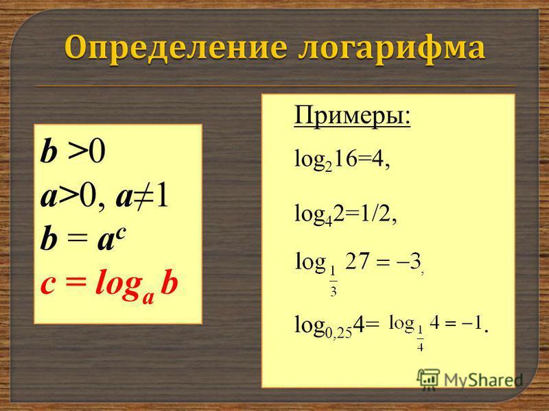 b >0 a>0, a1 b = a c с = log a b Примеры: log 2 16=4, log 4 2=1/2,, log 0,25 4=.