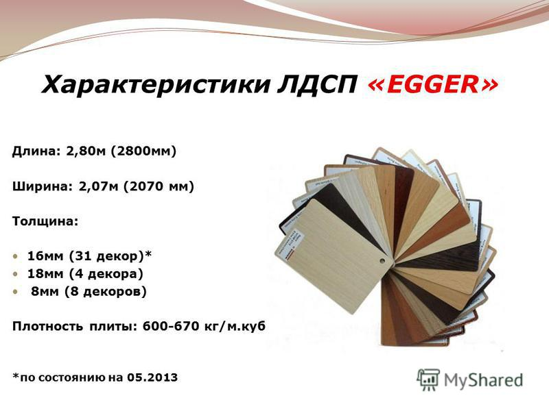 Характеристики ЛДСП «EGGER» Длина: 2,80 м (2800 мм) Ширина: 2,07 м (2070 мм) Толщина: 16 мм (31 декор)* 18 мм (4 декора) 8 мм (8 декоров) Плотность плиты: 600-670 кг/м.куб *по состоянию на 05.2013