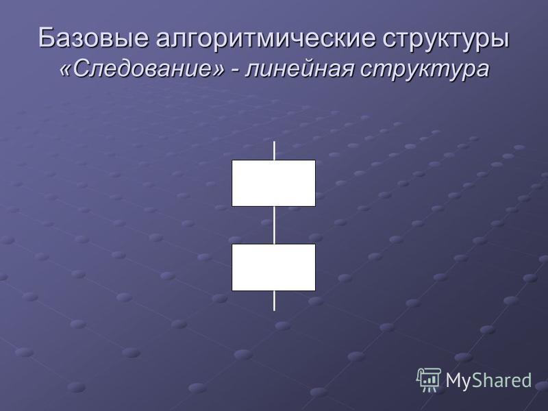 Базовые алгоритмические структуры «Следование» - линейная структура