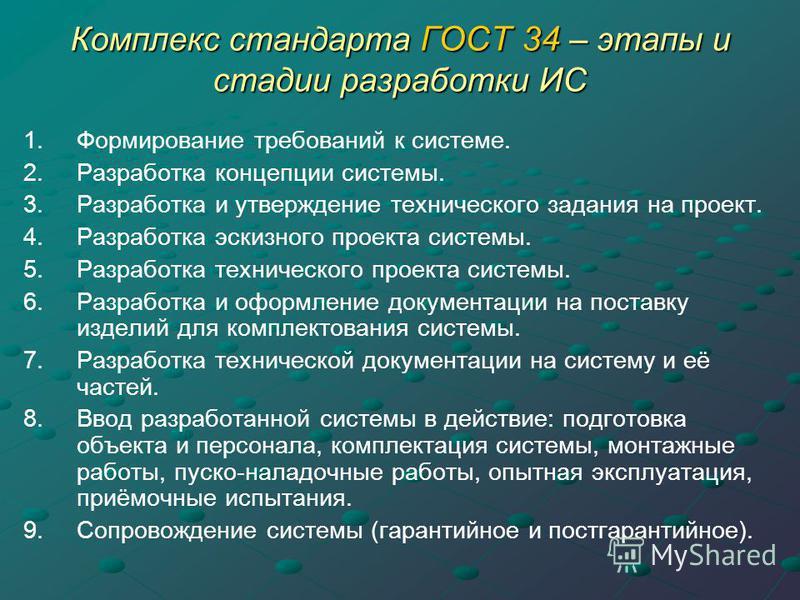 Комплекс стандарта ГОСТ 34 – этапы и стадии разработки ИС 1. Формирование требований к системе. 2. Разработка концепции системы. 3. Разработка и утверждение технического задания на проект. 4. Разработка эскизного проекта системы. 5. Разработка технич