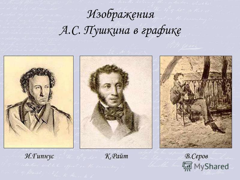 Изображения А.С. Пушкина в графике И.ГипнусК.РайтВ.Серов