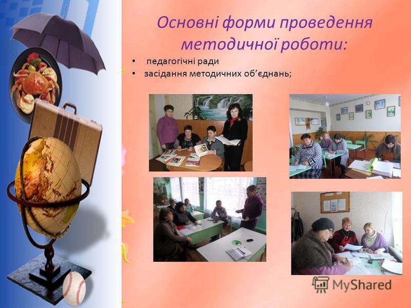 Основні форми проведення методичної роботи: педагогічні ради засідання методичних обєднань;