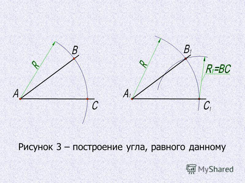 Ш. А.А. Рисунок 3 – построение угла, равного данному
