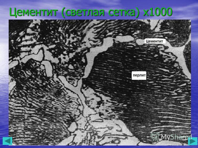 Цементит (светлая сетка) х 1000