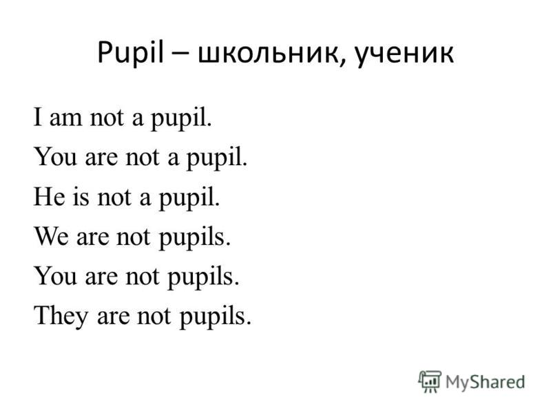 Pupil – школьник, ученик I am not a pupil. You are not a pupil. He is not a pupil. We are not pupils. You are not pupils. They are not pupils.
