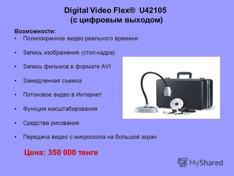 Digital Video Flex® U42105 (с цифровым выходом) Возможности: Полноэкранное видео реального времени Запись изображения (стоп-кадра) Запись фильмов в формате AVI Замедленная съемка Потоковое видео в Интернет Функция масштабирования Средства рисования П