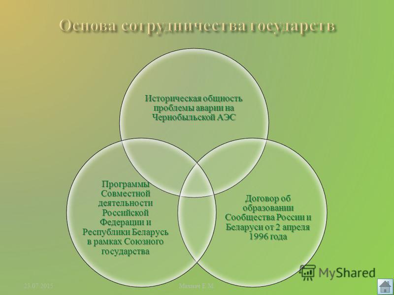 Основа сотрудничества государств Этапы развития взаимодействия Итоги совместной деятельности Махнач Е. М.23.07.2015