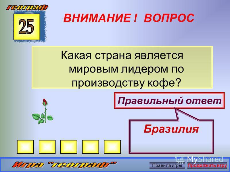 ВНИМАНИЕ ! ВОПРОС Как называется житель страны – родины краковской колбасы? Правильный ответ Поляк Правила игры Продолжить игру
