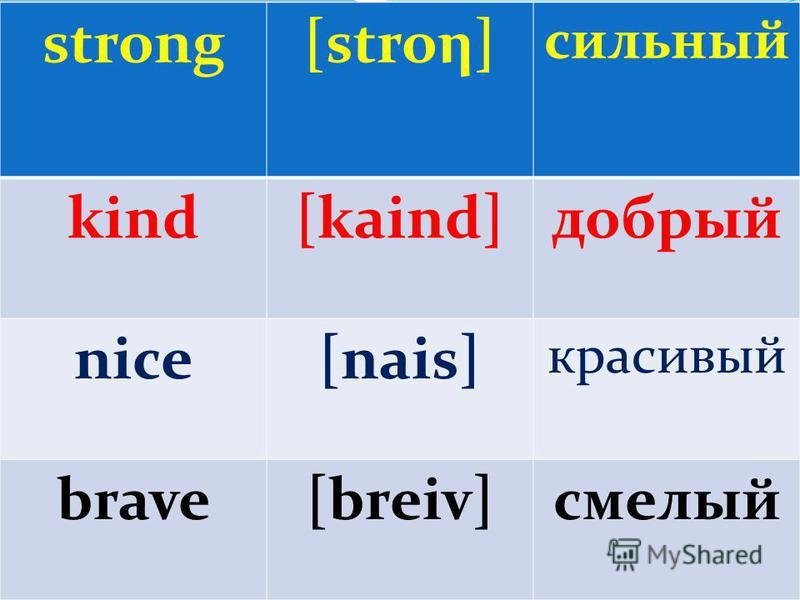 strong[stroη] сильный kind[kaind]добрый nice[nais] красивый brave[breiv]смелый