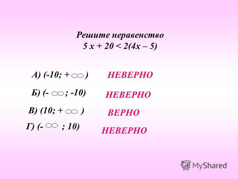 Решите неравенство 5 х + 20 < 2(4 х – 5) А) (-10; + ) Б) (- ; -10) В) (10; + ) Г) (- ; 10) НЕВЕРНО ВЕРНО