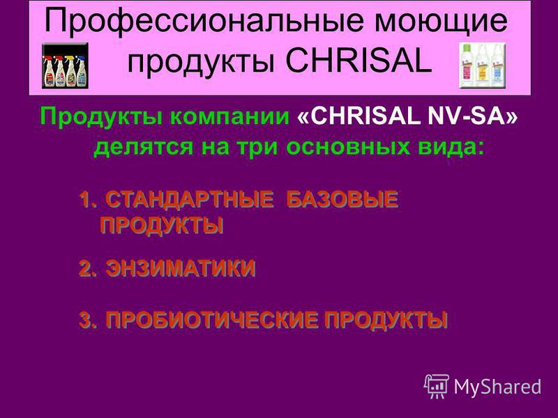 Профессиональные моющие продукты CHRISAL Продукты компании «CHRISAL NV-SA» делятся на три основных вида: 1. СТАНДАРТНЫЕ БАЗОВЫЕ ПРОДУКТЫ 2. ЭНЗИМАТИКИ 3. ПРОБИОТИЧЕСКИЕ ПРОДУКТЫ 1. СТАНДАРТНЫЕ БАЗОВЫЕ ПРОДУКТЫ 2. ЭНЗИМАТИКИ 3. ПРОБИОТИЧЕСКИЕ ПРОДУКТЫ