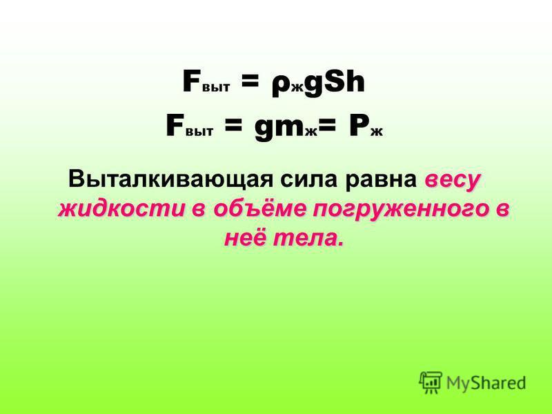 F выт = ρ ж gSh F выт = gm ж = P ж весу жидкости в объёме погруженного в неё тела. Выталкивающая сила равна весу жидкости в объёме погруженного в неё тела.