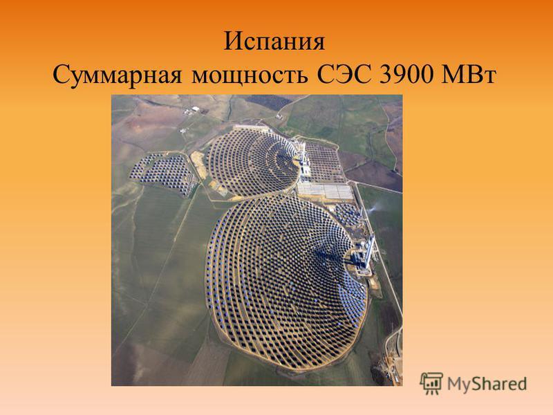 Испания Суммарная мощность СЭС 3900 МВт