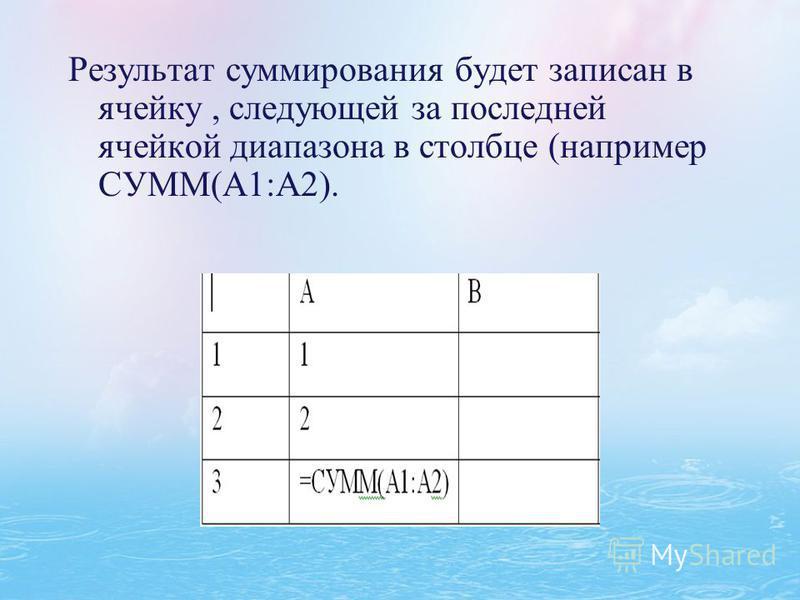 Результат суммирования будет записан в ячейку, следующей за последней ячейкой диапазона в столбце (например СУММ(А1:А2).