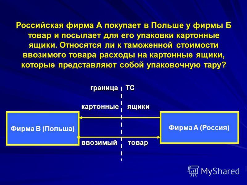 Российская фирма А покупает в Польше у фирмы Б товар и посылает для его упаковки картонные ящики. Относятся ли к таможенной стоимости ввозимого товара расходы на картонные ящики, которые представляют собой упаковочную тару? граница ТС граница ТС карт