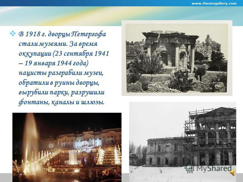 www.themegallery.com Company Logo Нижний Парк Нижний парк украшают многочисленные и разнообразные фонтаны, а также дворец «Марли» и павильон «Эрмитаж», построенные по проекту Иоганна Фридриха Браунштейна в первой половине 1720-х годов.
