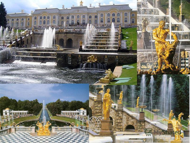 www.themegallery.com Company Logo Важнейшую роль в ансамбле Петергофа играют регулярные парки: с южной стороны дворца – Верхний сад с пятью фонтанами, а с приморской северной – Нижний парк с самым крупным в мире комплексом фонтанов.