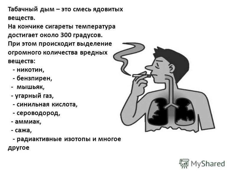 Табачный дым – это смесь ядовитых веществ. На кончике сигареты температура достигает около 300 градусов. При этом происходит выделение огромного количества вредных веществ: - никотин, - бензпирен, - мышьяк, - угарный газ, - синильная кислота, - серов