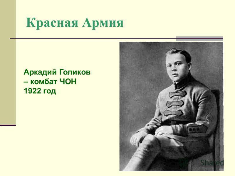 Красная Армия Аркадий Голиков – комбат ЧОН 1922 год