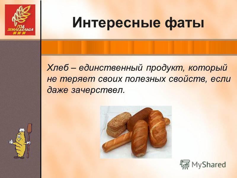 Интересные фаты Хлеб – единственный продукт, который не теряет своих полезных свойств, если даже зачерствел.