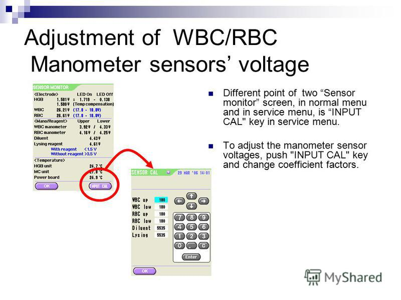 Adjustment of WBC/RBC Manometer sensors voltage Different point of two Sensor monitor screen, in normal menu and in service menu, is INPUT CAL