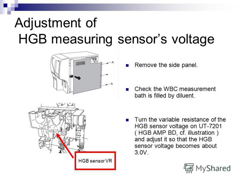 Adjustment of HGB measuring sensors voltage Remove the side panel. Check the WBC measurement bath is filled by diluent. Turn the variable resistance of the HGB sensor voltage on UT-7201 ( HGB AMP BD, cf. illustration ) and adjust it so that the HGB s