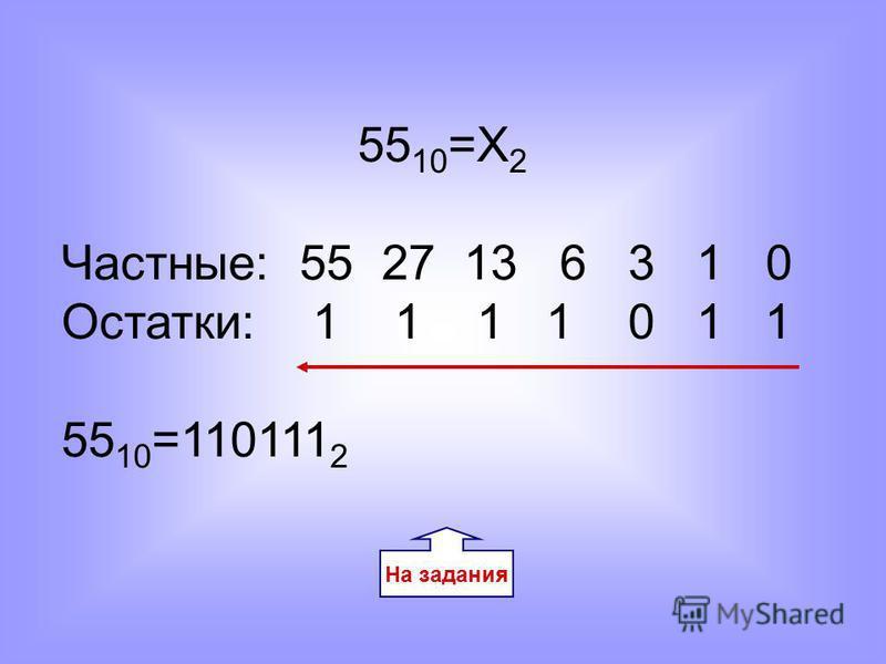 55 10 =Х 2 Частные: 55 27 13 6 3 1 0 Остатки: 1 1 1 1 0 1 1 55 10 =110111 2 На задания