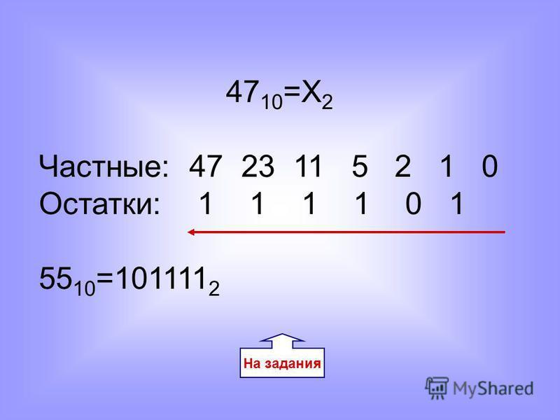 47 10 =Х 2 Частные: 47 23 11 5 2 1 0 Остатки: 1 1 1 1 0 1 55 10 =101111 2