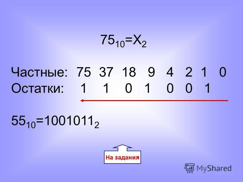 На задания 75 10 =Х 2 Частные: 75 37 18 9 4 2 1 0 Остатки: 1 1 0 1 0 0 1 55 10 =1001011 2