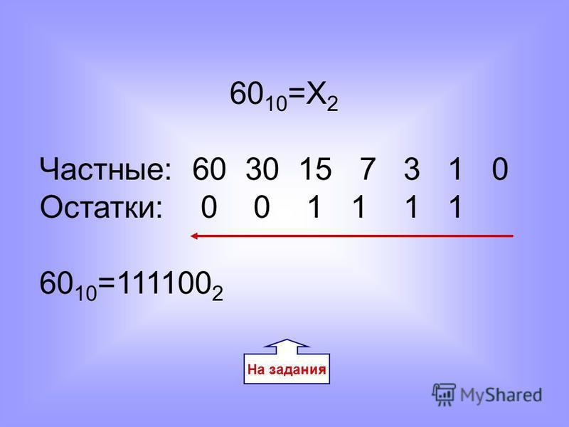 На задания 60 10 =Х 2 Частные: 60 30 15 7 3 1 0 Остатки: 0 0 1 1 1 1 60 10 =111100 2