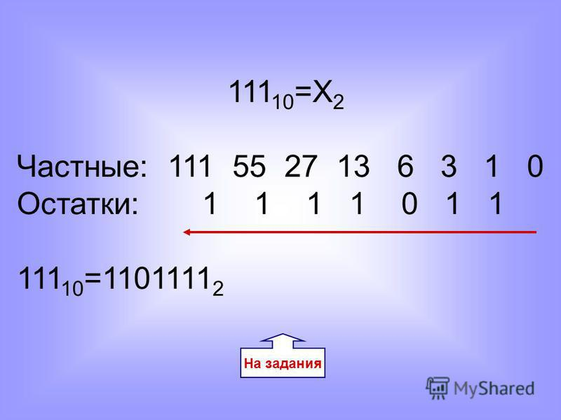 На задания 111 10 =Х 2 Частные: 111 55 27 13 6 3 1 0 Остатки: 1 1 1 1 0 1 1 111 10 =1101111 2