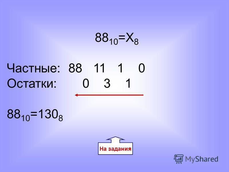 На задания 88 10 =Х 8 Частные: 88 11 1 0 Остатки: 0 3 1 88 10 =130 8