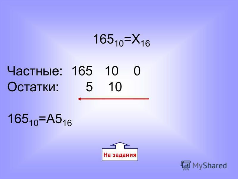 165 10 =Х 16 Частные: 165 10 0 Остатки: 5 10 165 10 =A5 16 На задания