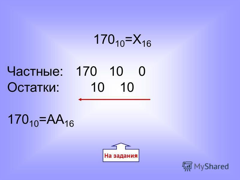 170 10 =Х 16 Частные: 170 10 0 Остатки: 10 10 170 10 =AA 16 На задания