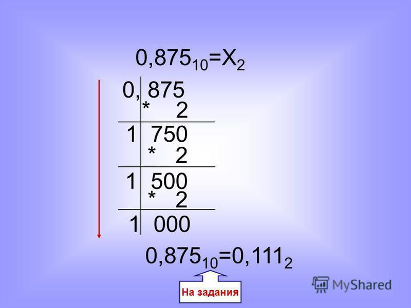 0,875 10 =Х 2 0,875 10 =0,111 2 1 750 0, 875 * 2 1 500 * 2 1 000 На задания