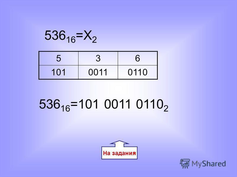 На задания 536 16 =Х 2 536 10100110110 536 16 =101 0011 0110 2