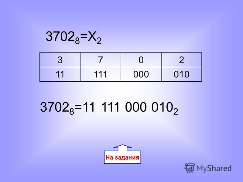 На задания 3702 8 =Х 2 3702 11111000010 3702 8 =11 111 000 010 2