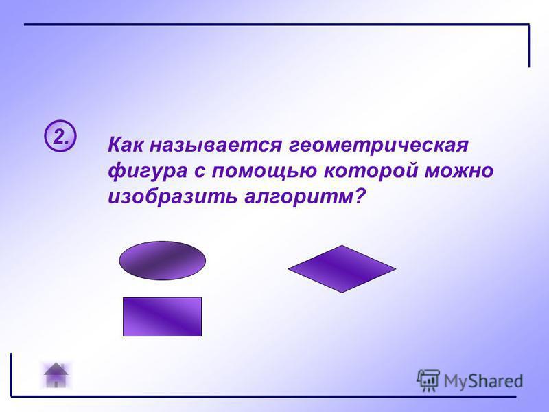 2. Как называется геометрическая фигура с помощью которой можно изобразить алгоритм?