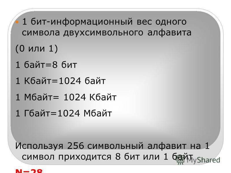 1 бит-информационный вес одного символа двух символьного алфавита (0 или 1) 1 байт=8 бит 1 Кбайт=1024 байт 1 Мбайт= 1024 Кбайт 1 Гбайт=1024 Мбайт Используя 256 символьный алфавит на 1 символ приходится 8 бит или 1 байт N=28 256=28