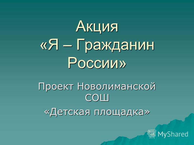 Акция «Я – Гражданин России» Проект Новолиманской СОШ «Детская площадка»