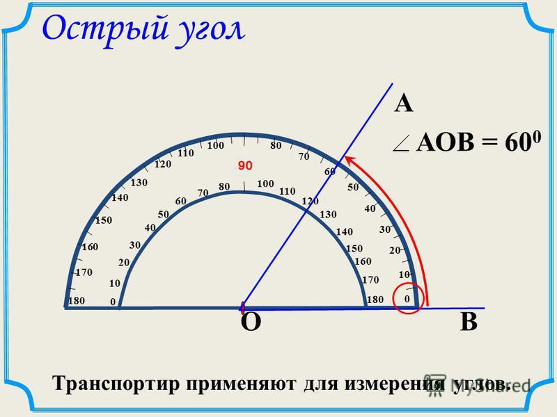1. Совместить штрих на транспортире с вершиной угла. 2. Расположить транспортир таким образом, чтобы одна сторона угла проходила через начало отсчета. Как измерить угол 3. Выбрать соответствующую шкалу и определить, через какое деление проходит втора