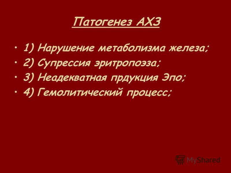 Патогенез АХЗ 1) Нарушение метаболизма железа; 2) Супрессия эритропоэза; 3) Неадекватная продукция Эпо; 4) Гемолитический процесс;