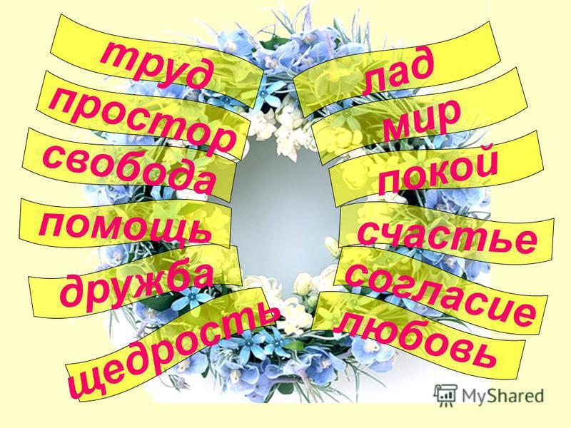 любовь согласие лад покой счастье щедрость свобода дружба простор помощь труд мир