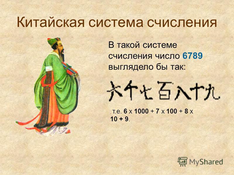 Китайская система счисления В такой системе счисления число 6789 выглядело бы так:, т.е. 6 x 1000 + 7 x 100 + 8 x 10 + 9.