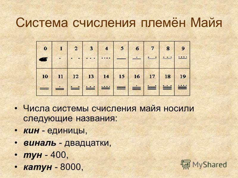 Система счисления племён Майя Числа системы счисления майя носили следующие названия: кин - единицы, ваниль - двадцатки, тун - 400, катун - 8000,